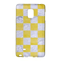 Square1 White Marble & Yellow Watercolor Galaxy Note Edge