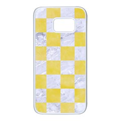 Square1 White Marble & Yellow Watercolor Samsung Galaxy S7 White Seamless Case