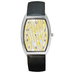 Skin4 White Marble & Yellow Watercolor Barrel Style Metal Watch