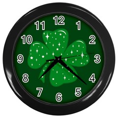 Sparkly Clover Wall Clocks (black)