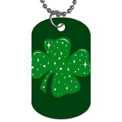 Sparkly Clover Dog Tag (two Sides)