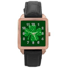 Sparkly Clover Rose Gold Leather Watch