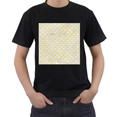 Scales3 White Marble & Yellow Watercolor (r) Men s T Shirt (black)