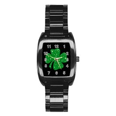 Sparkly Clover Stainless Steel Barrel Watch