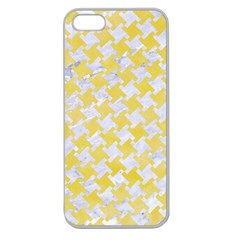 Houndstooth2 White Marble & Yellow Watercolor Apple Seamless Iphone 5 Case (clear)