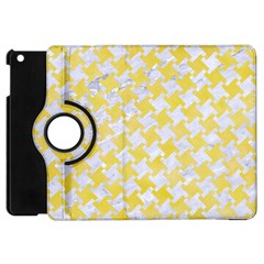 Houndstooth2 White Marble & Yellow Watercolor Apple Ipad Mini Flip 360 Case
