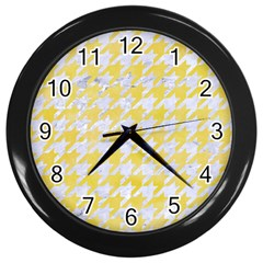 Houndstooth1 White Marble & Yellow Watercolor Wall Clocks (black)