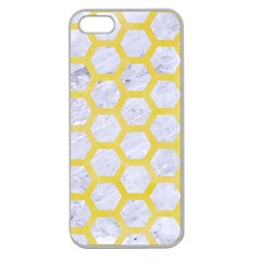 Hexagon2 White Marble & Yellow Watercolor (r) Apple Seamless Iphone 5 Case (clear)