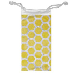 Hexagon2 White Marble & Yellow Watercolor Jewelry Bag