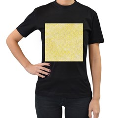 Hexagon1 White Marble & Yellow Watercolor Women s T Shirt (black) (two Sided)