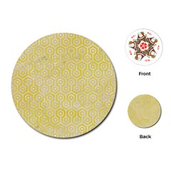 Hexagon1 White Marble & Yellow Watercolor Playing Cards (round)