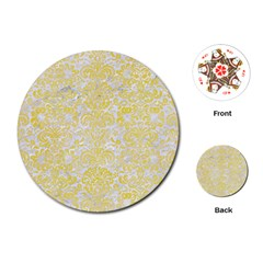 Damask2 White Marble & Yellow Watercolor (r) Playing Cards (round)