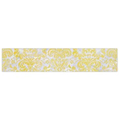 Damask2 White Marble & Yellow Watercolor (r) Small Flano Scarf