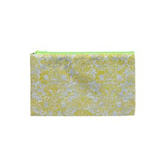 Damask2 White Marble & Yellow Watercolor (r) Cosmetic Bag (xs)