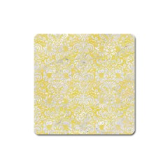 Damask2 White Marble & Yellow Watercolor Square Magnet