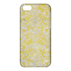 Damask2 White Marble & Yellow Watercolor Apple Iphone 5c Hardshell Case
