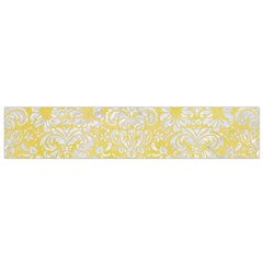 Damask2 White Marble & Yellow Watercolor Small Flano Scarf