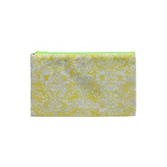 Damask2 White Marble & Yellow Watercolor Cosmetic Bag (xs)