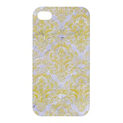 Damask1 White Marble & Yellow Watercolor (r) Apple Iphone 4/4s Hardshell Case