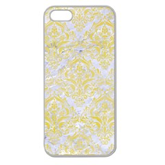 Damask1 White Marble & Yellow Watercolor (r) Apple Seamless Iphone 5 Case (clear)