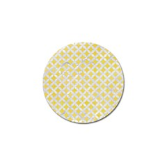 Circles3 White Marble & Yellow Watercolor Golf Ball Marker