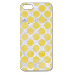 Circles2 White Marble & Yellow Watercolor (r) Apple Seamless Iphone 5 Case (clear)