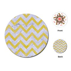 Chevron9 White Marble & Yellow Watercolor (r) Playing Cards (round)
