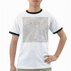 Brick2 White Marble & Yellow Watercolor (r) Ringer T Shirts