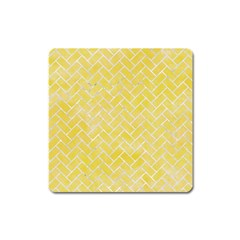 Brick2 White Marble & Yellow Watercolor Square Magnet