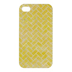 Brick2 White Marble & Yellow Watercolor Apple Iphone 4/4s Hardshell Case