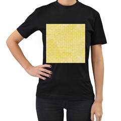 Brick1 White Marble & Yellow Watercolor Women s T Shirt (black) (two Sided)