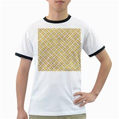 Woven2 White Marble & Yellow Marble (r) Ringer T Shirts