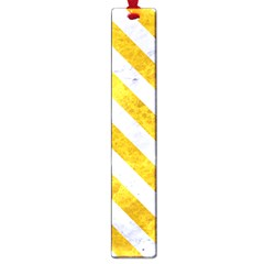 Stripes3 White Marble & Yellow Marble Large Book Marks