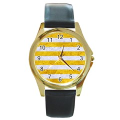 Stripes2white Marble & Yellow Marble Round Gold Metal Watch