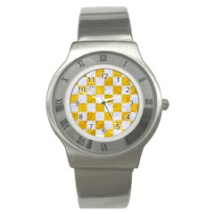 Square1 White Marble & Yellow Marble Stainless Steel Watch