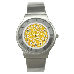 Skin5 White Marble & Yellow Marble (r) Stainless Steel Watch