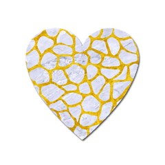 Skin1 White Marble & Yellow Marble Heart Magnet