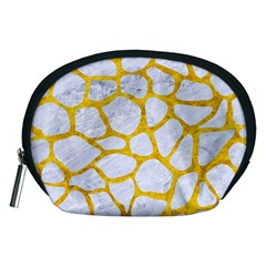 Skin1 White Marble & Yellow Marble Accessory Pouches (medium)