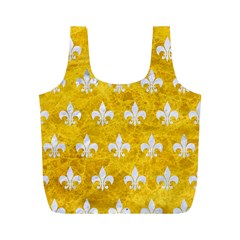 Royal1 White Marble & Yellow Marble (r) Full Print Recycle Bags (m)