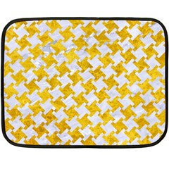 Houndstooth2 White Marble & Yellow Marble Fleece Blanket (mini)