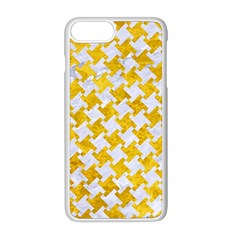 Houndstooth2 White Marble & Yellow Marble Apple Iphone 8 Plus Seamless Case (white)
