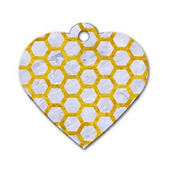 Hexagon2 White Marble & Yellow Marble (r) Dog Tag Heart (one Side)