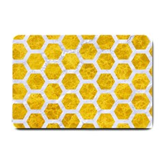 Hexagon2 White Marble & Yellow Marble Small Doormat