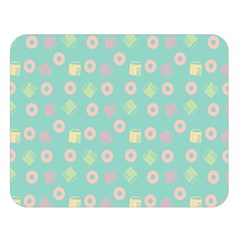 Teal Donuts And Milk Double Sided Flano Blanket (large)