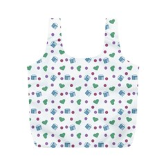 White Milk Hearts Full Print Recycle Bags (m)