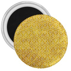 Hexagon1 White Marble & Yellow Marble 3  Magnets