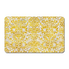 Damask2 White Marble & Yellow Marble (r) Magnet (rectangular)