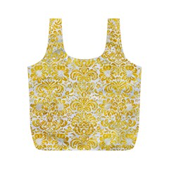 Damask2 White Marble & Yellow Marble (r) Full Print Recycle Bags (m)
