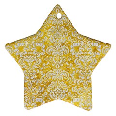 Damask2 White Marble & Yellow Marble Ornament (star)