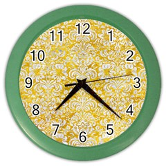 Damask2 White Marble & Yellow Marble Color Wall Clocks